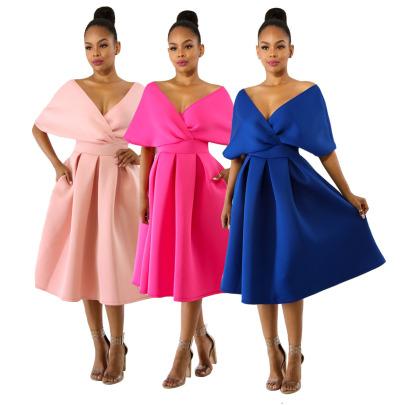 Fashion Sexy V-neck Halter Dress NSSJW63032