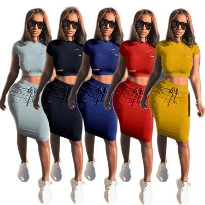 Fashion Sexy Ripped Dress Two-piece Set NSSJW63033