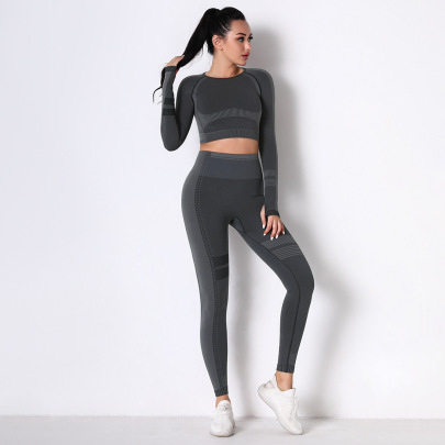 Spot New Sports Tight-fitting Running Breathable Knitted Set NSLX63093