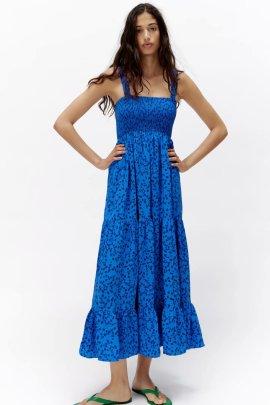 Wholesale Summer Print Suspender Dress NSAM63099