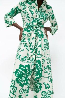 Wholesale Summer Printed Poplin Long-sleeved Dress NSAM63103