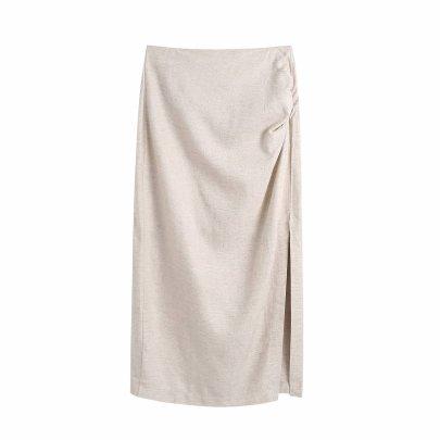 Wholesale Summer Linen Pleated Skirt NSAM63112