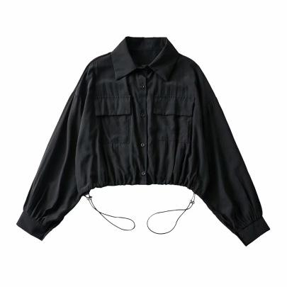 Loose Double Pocket Short Lapel Sunscreen Jacket NSAC63135