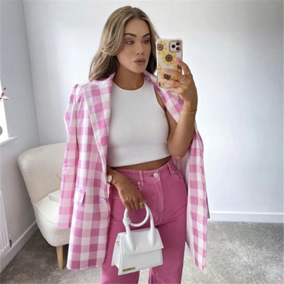 Retro Pink Plaid Loose Straight Two-button Top NSAC63139