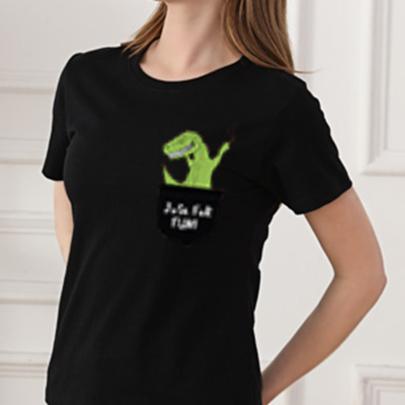 Summer Cartoon Pocket Dinosaur Print Round Neck Slim Cotton T-shirt NSOUY64340