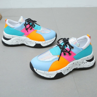 Flat Bottom Color Matching Casual Sports Shoes NSYUS63342