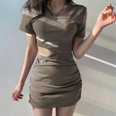 Fashion New Asymmetric Sexy Waist Pleated Hip Skirt NSLQ63171