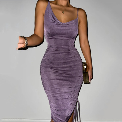 Summer New Sexy Fashion Drawstring Halter Strap Dress NSFD63194