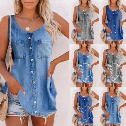 Fashion Loose Imitation Denim Vest NSBTY63204