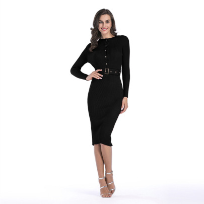 Solid Color Bottoming Button Dress NSYYF63212