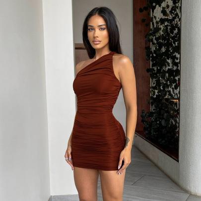 Solid Color Pleated High Waist One-shoulder Dress NSHLJ63227