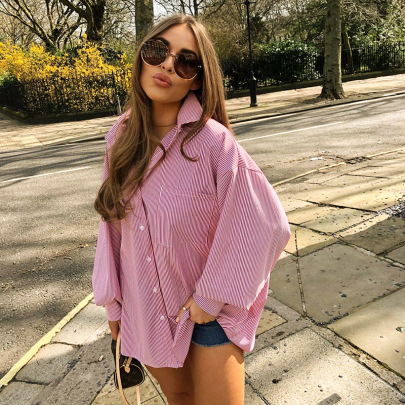 Solid Color Loose Fashion Striped Long-sleeved Open Collar Casual Shirt Shirt NSHLJ63276