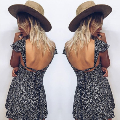 Summer New Style Hot Sale Small Floral Square Neck Halter Dress NSLIH63285