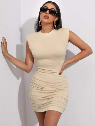 New Sexy Self-cultivation Pleated Hip Solid Color Fashion Tight-fitting Vest Dress NSLIH63297