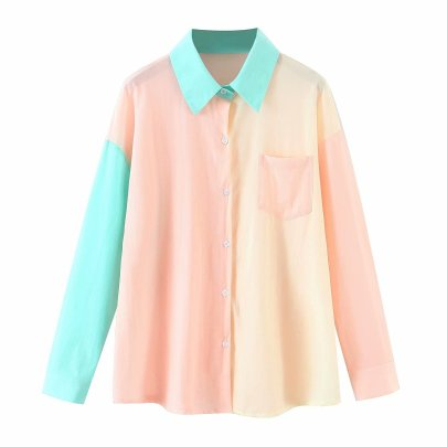 Contrast Color Stitching Loose Holiday Sunscreen Casual Shirt NSAM63309