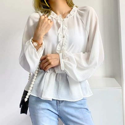 Wholesale Summer New Style Bubble Check Lace Long-sleeved Blouse NSAM63310