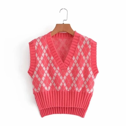 College Style Lattice Knitted Vest  NSHS63333