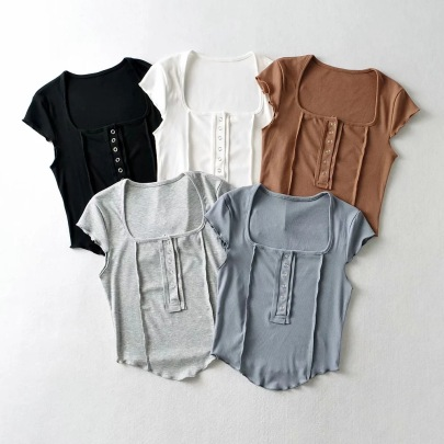 Sexy Short-sleeved Stitching Fashion T-shirt NSHS63334
