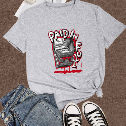 Creative Cartoon Letter Printing Casual Short-sleeved T-shirt NSOUY64335