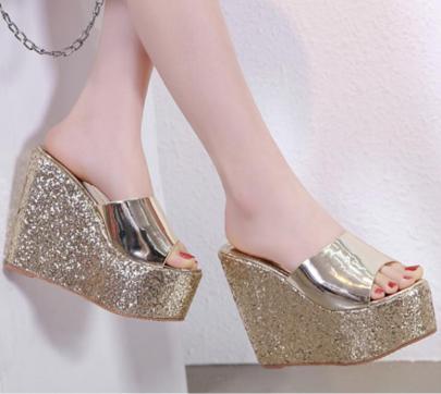 Summer New Slope Heel High Heel Sequin Sandals NSSO60244