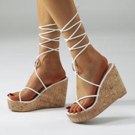 New Slope Heel High Heel Platform Cross Strap Open Toe Sandals NSSO60273