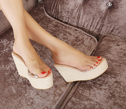 Summer Thick-soled High-heeled Rope Transparent Slope With Bohemian Sandals NSCA60277