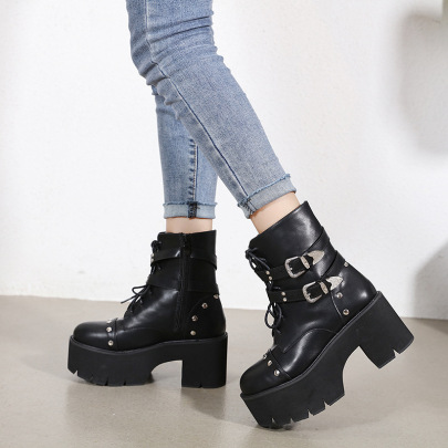 Lace-up Short Dark Black Military Boots NSCA60281