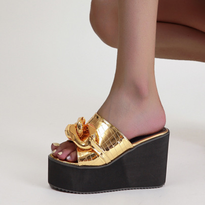 Crocodile Pattern Fashion Metal Buckle High Heels Slippers NSCA60293