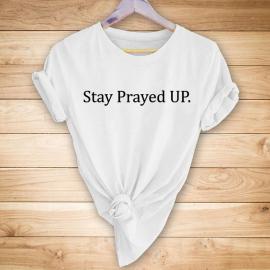 """""""stay Prayed Up"""" Printed Short-sleeved T-shirt NSYAY63411"""