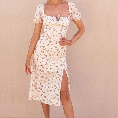 Summer New Sexy Print Wrapped Chest Lace High Waist Split Dress NSJIM63440