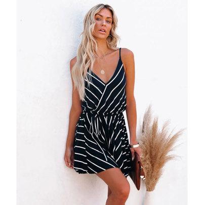 Summer New Style Striped V-neck Suspender Dress NSJIM63442