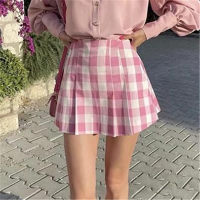 Pink Plaid A-line Skirt NSAC63452