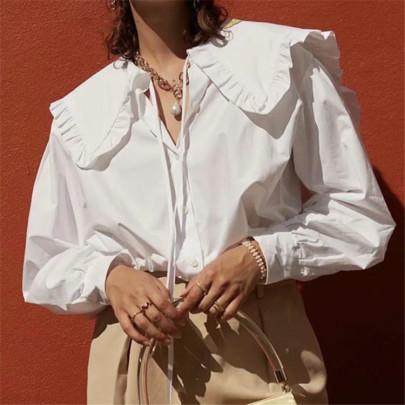 Retro Neck Tie White Shirt Blouse  NSAC63476
