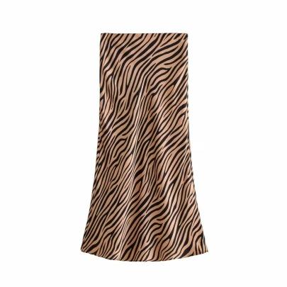 High Waist Retro Print New Satin Drape A-line Skirt NSAC63486