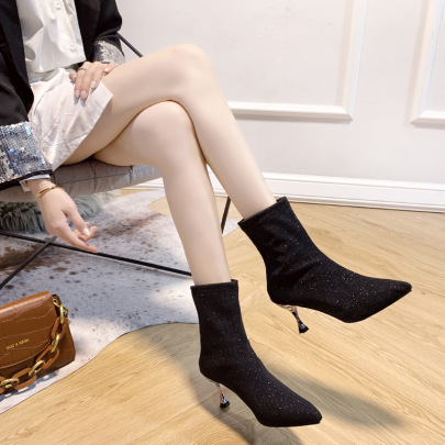 Sequined Pointed Toe Stiletto Ankle Boots  NSZSC63488
