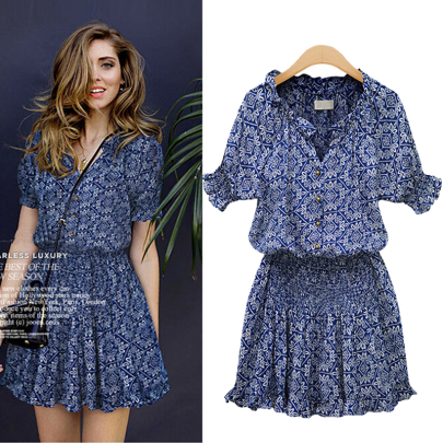 V-neck Printing Casual All-match Short-sleeved Dress NSSUO63776