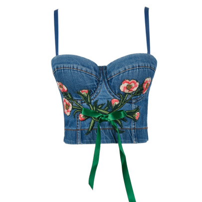 Embroidered Flower Denim Camisole NSQG63570