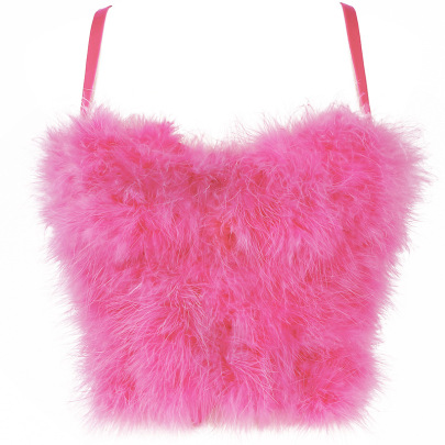 Solid Color Stitching Furry Feather Camisole NSQG63581