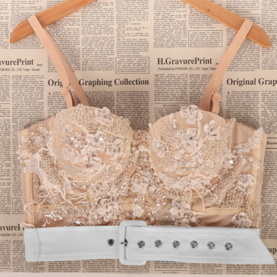 Lace Beaded Sequin Embroidery Belted Cami Top NSQG63615