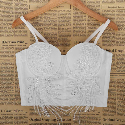 Lace Beads Solid Color Camisole NSQG63625