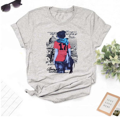 Short-sleeved Fashion High-definition Printing T-shirt NSOUY64251