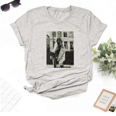 Short-sleeved All-match Print T-shirt NSOUY64253