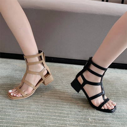 Thick Mid-heel Hollow Boot Sandals NSHU63823