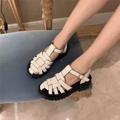 Platform Woven Flat Roman Sandals NSHU63825