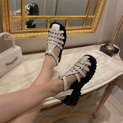Fashion Platform Flat Woven Roman Sandals NSHU63827