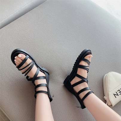 Fashion Mutiple Straps Solid Color Sandals NSHU63828