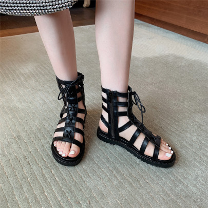 Fashion Solid Color Hollow Lace-up Sandals NSHU63829