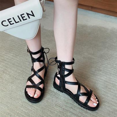 Fashion Hollow High-top Thick Flat Sandals NSHU63836