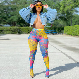 Fashion New Style Tie-dye Sexy High Waist Hollow Mesh Leggings NSMX63879