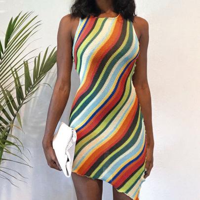 Knitted Rainbow Stripes Color Matching Sleeveless Slim Irregular Dress NSRUI63897